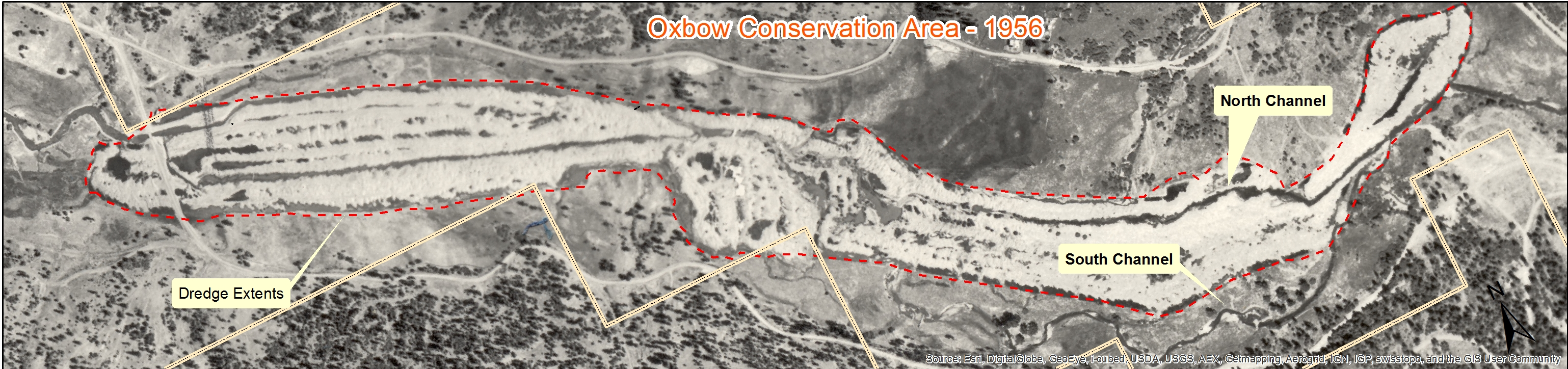 Oxbow Project area and how it look in 1956, prior to the tailings leveling in the 1970s