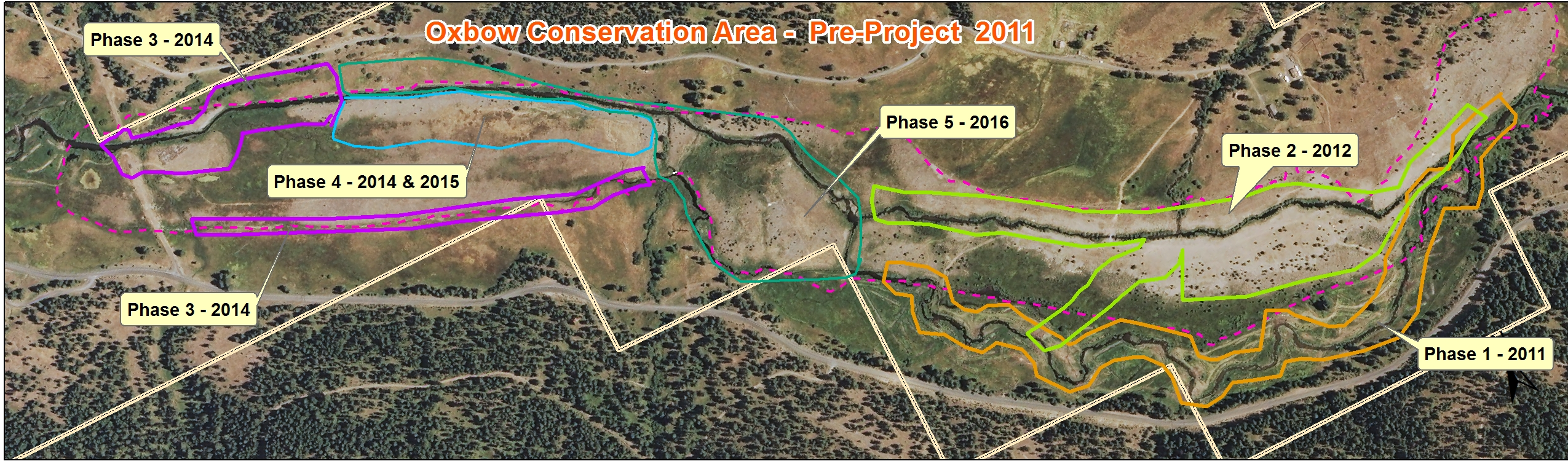 Map of how the project was split into the five phases. Aerial photo shows the property prior to the earthwork involved with Phase 2-5